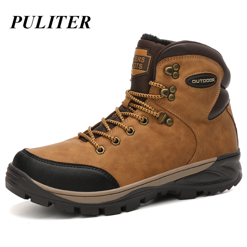 New Warm Men Boots Winter Waterproof Ankle Boots Fashion Boots Outdoor Plush Working Snow Boots Men's Shoes Big Size Bot PUTILER