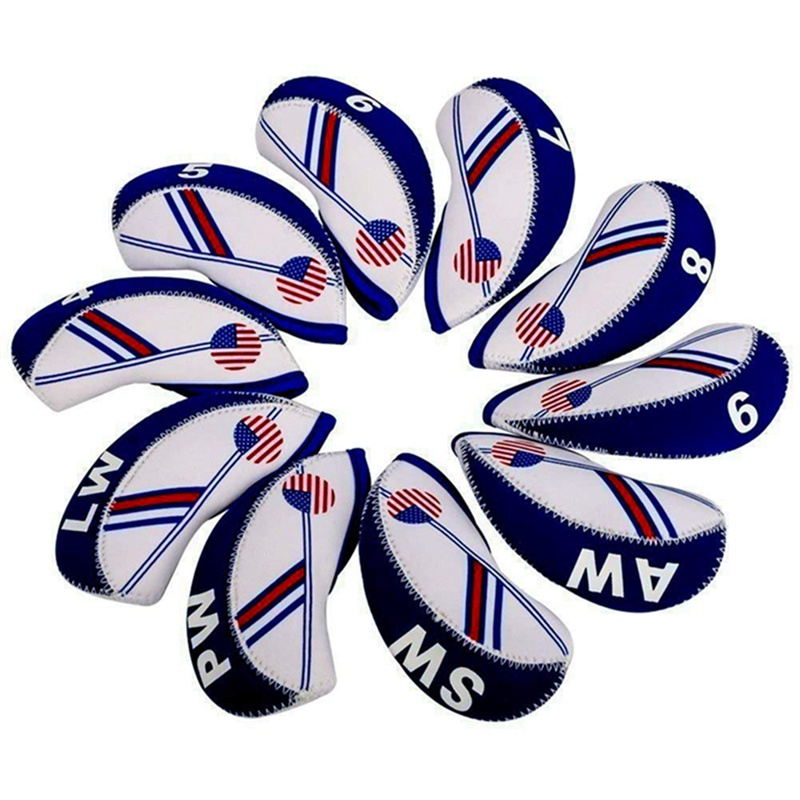 10PCS/set Duplex Printing Waterproof Golf Club Head Iron Headcovers Blue White Head Cover Golf Club Accessories