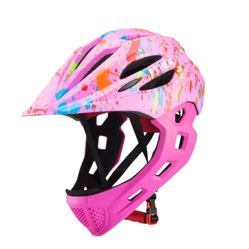 Vollvisier MTB Helme | Ftiier Kind Fahrrad Helm Abnehmbare Kinder Volle Gesicht Fahrrad Helm Für Berg Mtb Rennrad Mit Led Rücklicht Rot