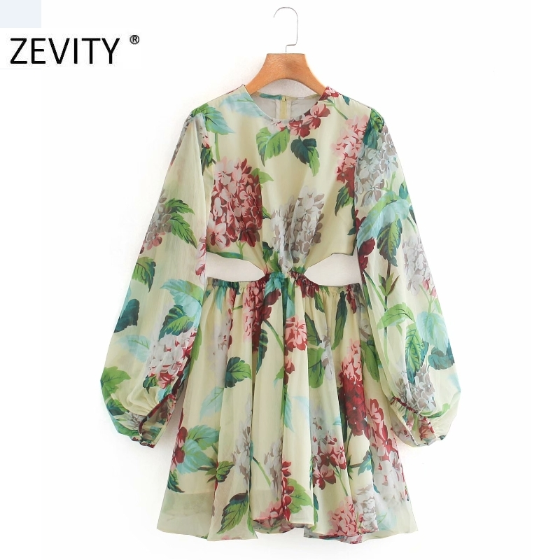ZEVITY NEW women sexy waist hollow out chiffon mini dress female lantern sleeve print vestidos casual slim zipper dresses DS4256