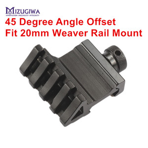 MIZUGIWA 4 Slot 45 Degree Angle Offset Fit 20mm Weaver Rail Mount Adapter Quick Release Aluminium Alloy Base Scope Pistol