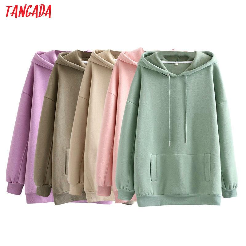 Tangada women fleece hoodie sweatshirts winter japanese fashion 2020 oversize ladies pullovers warm pocket hooded jacket SD60