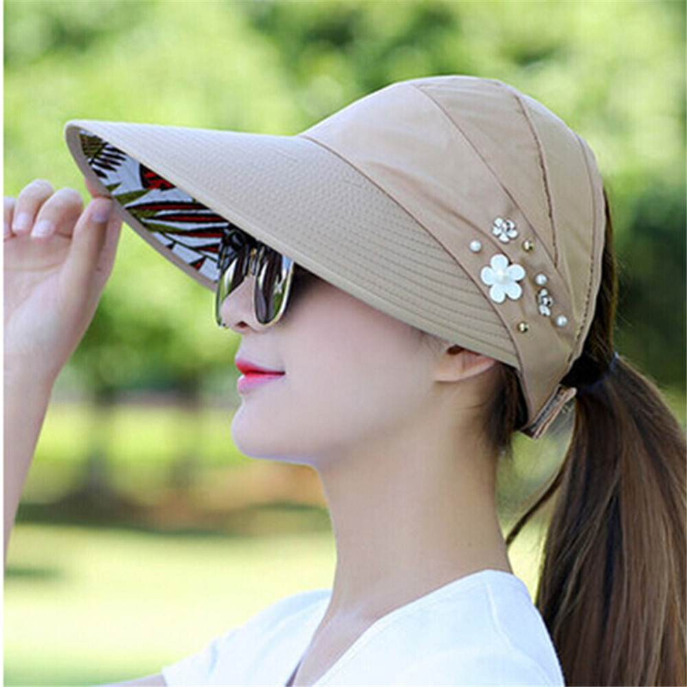 Women Visors Hat Sun Hats For Fishing Fisher Beach Hat UV Protection Cap Black Casual Womens Summer Caps Ponytail Wide Brim Hat