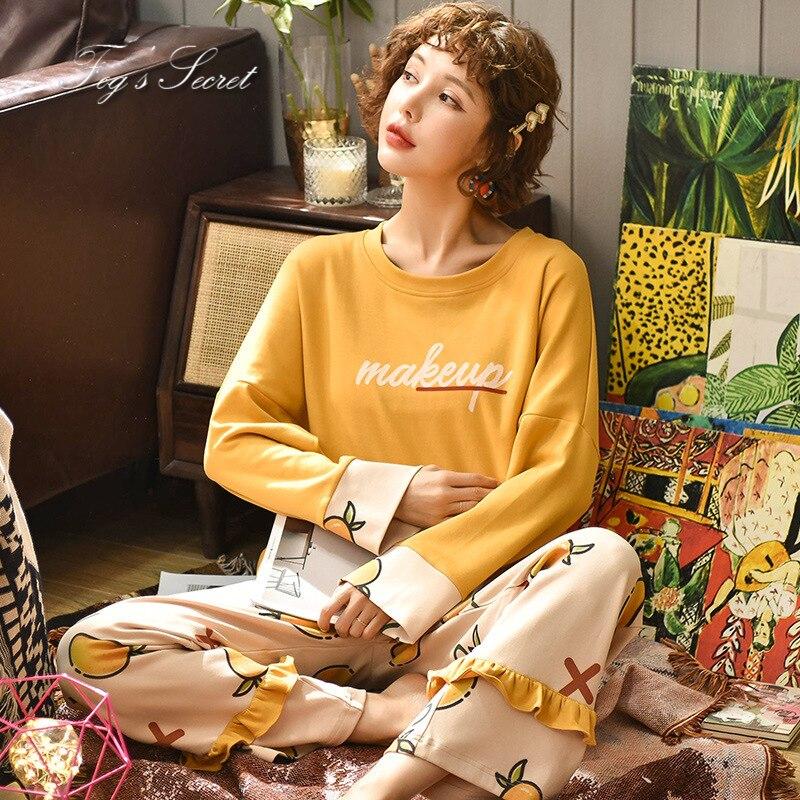 Women pajamas sets loose casual housewear T shirt with long trousers cotton sleepwear pijama feminino 47