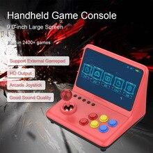 وحدة تحكم ألعاب فيديو أركيد مع شاشة 9 بوصة ، وحدة تحكم مدمجة 2400 لعبة ، مشغل موسيقى وفيديو ، اتصال سلكي