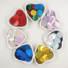 25mm laser with ordinary color flat sheet large round sequins process with 1 side hole DIY garment handmade accessories 5meters 17colors connecting strip with diy sequins handicraft pearl sequins garment connecting strip with diy sequins