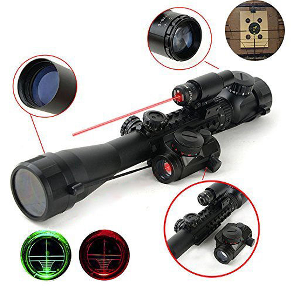 FULL PACK 3-9X40EG Rifle Scope In 11/20mm Rail & HD22M1-RG Holographic Dot Sight Long Range & Short Red Laser Sight Hunting image