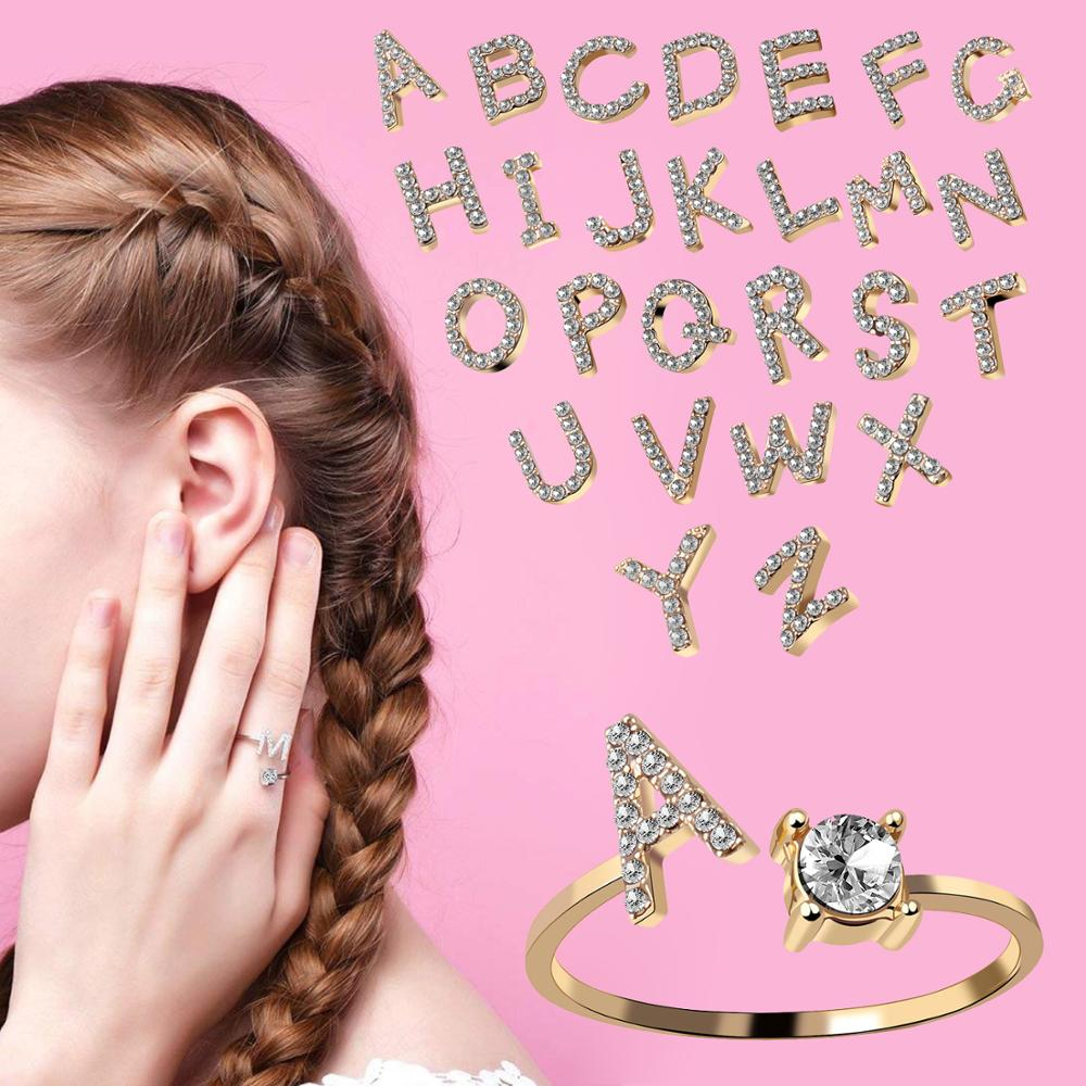 Hot Sale Gold Silver Color A-Z 26 Letters Initial Name Rings Shiny Rhinestone CZ Open Cuff Finger Rings Women Jewelry Dropship