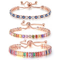 Многоцветный браслет для женщин, циркониевые регулируемые ювелирные изделия, камень, цвет, рандомно организованные Свадебные Рождественск...