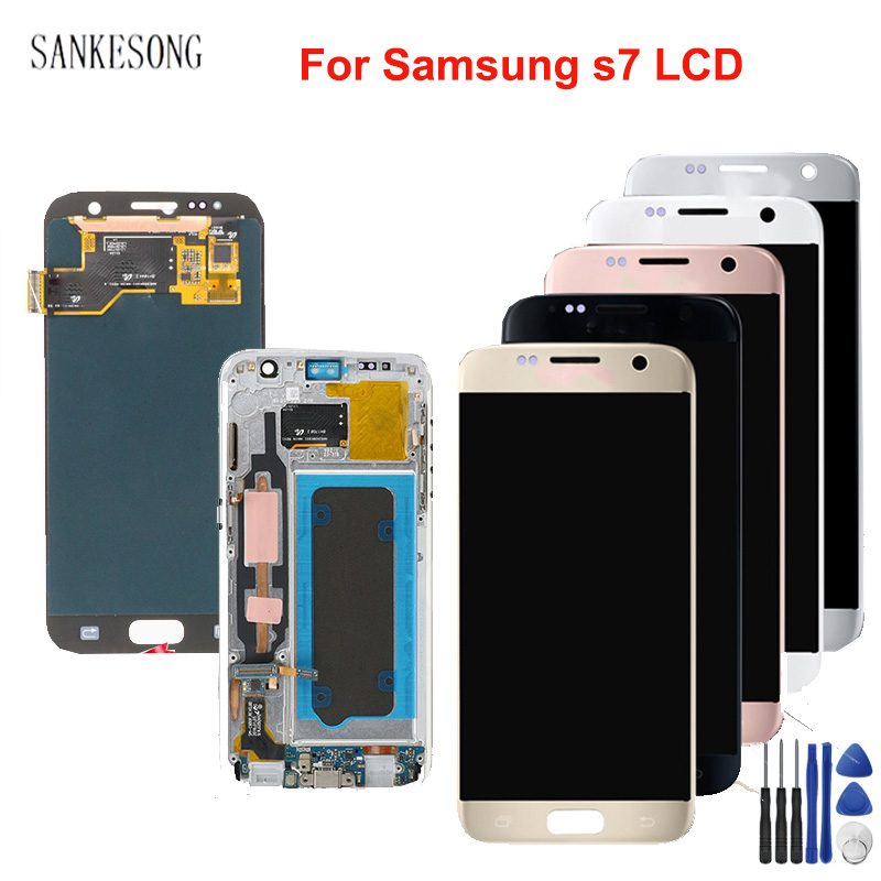 5.1'' AMOLED Burn-shadow LCD With Frame For SAMSUNG <font><b>Galaxy</b></font> <font><b>S7</b></font> G930 <font><b>G930F</b></font> LCD <font><b>Display</b></font> Touch Screen Digitizer Replacement tools image