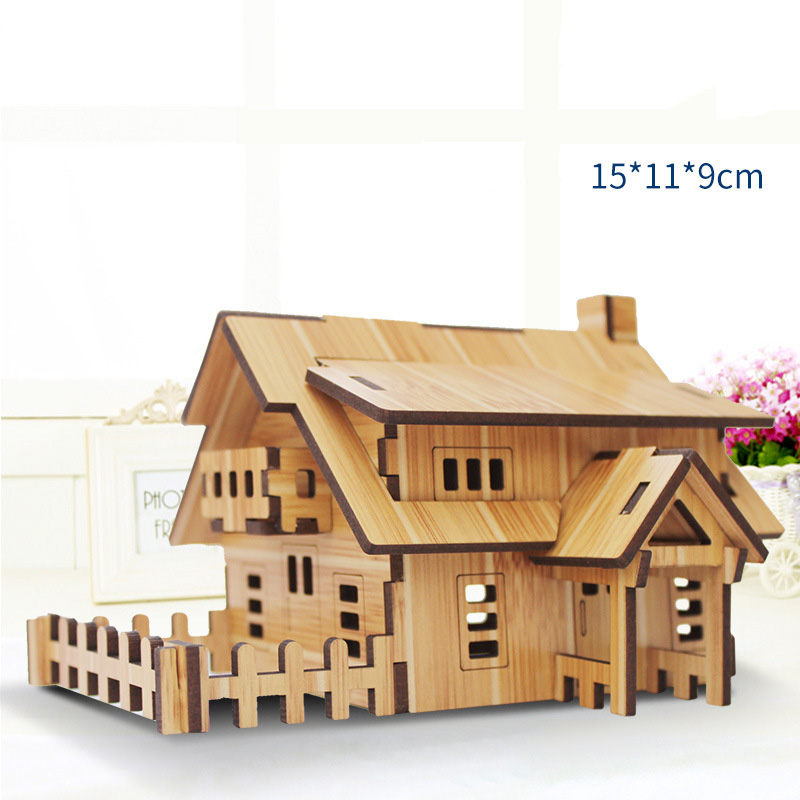 3d bambu de madeira quebra cabeça brinquedos arquitetura casa diy conjunto kit crianças aprendizagem brinquedos educativos de madeira para crianças|Quebra-cab.|   -