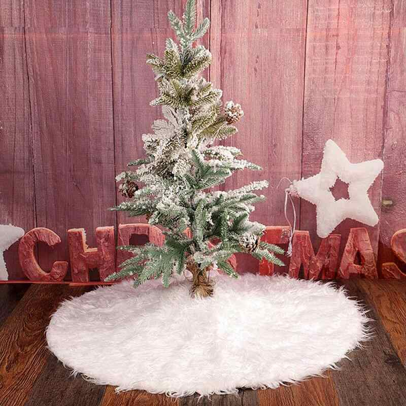 90cm Snow Long Plush Christmas Tree Skirt Nonwovens Golden Cotton Steering Wheel Edge Base Carpet Cover New Year Christmas Party