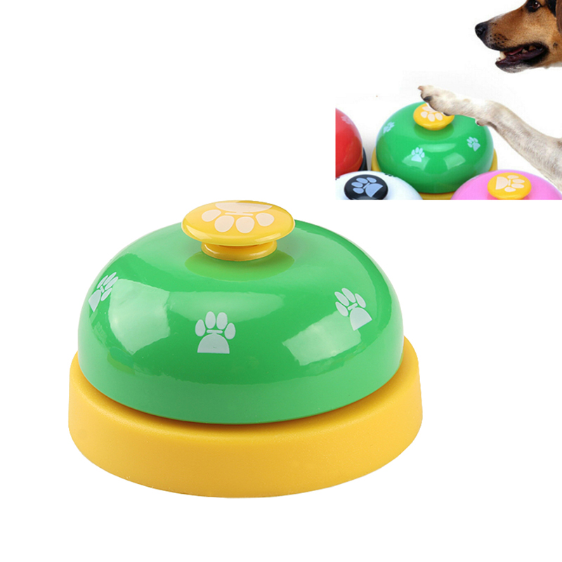 1pc Dog Training Bell Paw Print Pet Dinner Bell Dog Training Clicker Puppy Cat Dinning Call Ring Pet Training Playing Toys-3