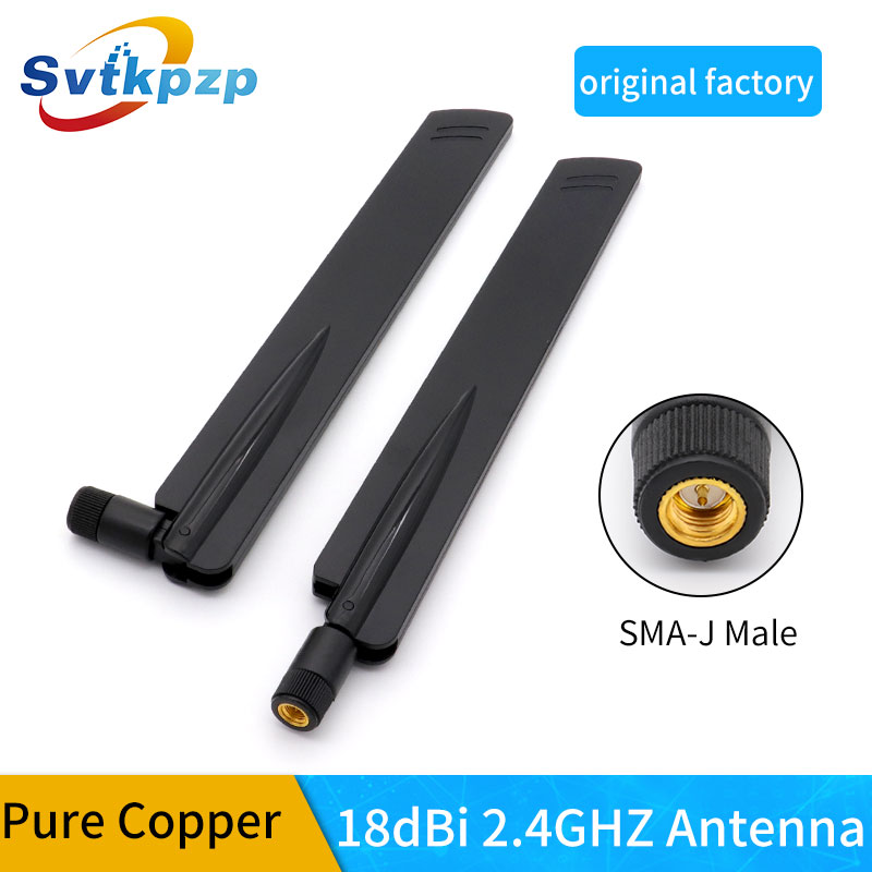 18dBi 2.4G WiFi Antenna With SMA Male Connector Omni Wireless Booster Router Antennas 2.4Ghz For Wlan/ IP Camera Black 2PCS