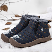Men Boots Winter with Plush Waterproof Snow Boots Ankle Boot Men Shoes Black Warm Outdoor Snowshoe Blue Grey Male Footwear 39 S