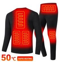 Winter Heated Underwear USB Battery Powered Fleece Thermal Heating Motorcycle Jacket Moto Pants Electric Suit Men Women