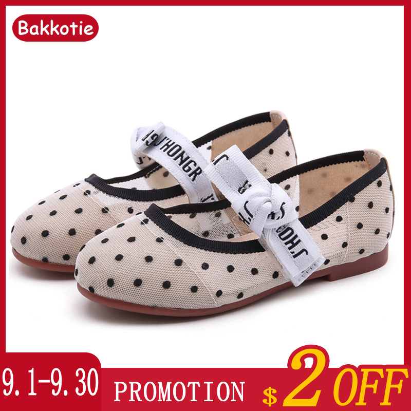 Bakkotie 2019 New Baby Girls Fashion Polka Bowtie Mary Jane Flats Princess Mesh Lace Black Party Shoes Kids Brand Dress Shoes