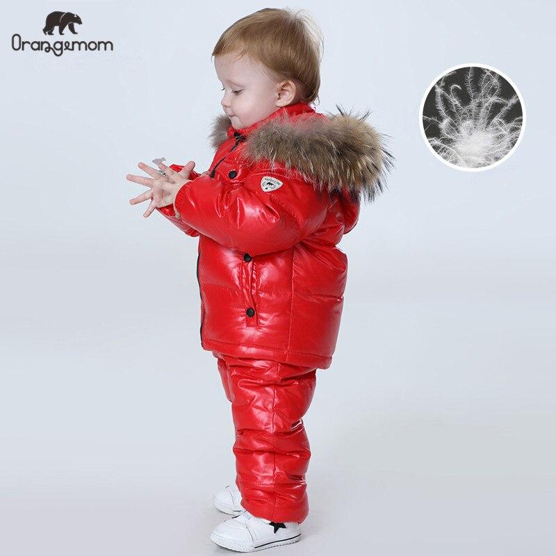 Orangemom russie hiver ensembles de vêtements pour enfants, vêtements pour filles pour le nouvel an garçons parka enfants vestes manteau vers le bas vêtements de neige