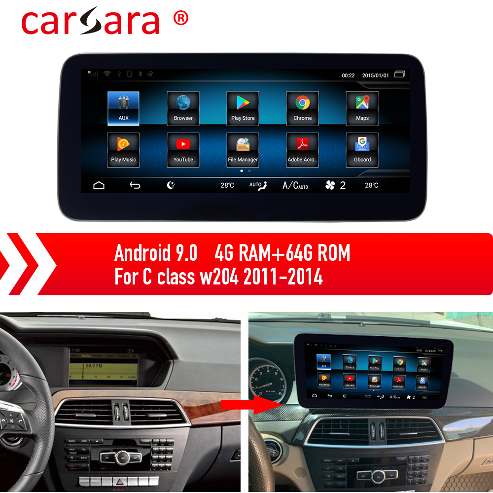 Mercedes <font><b>Android</b></font> 9.0 Tablet for C Class W204 11-14 Multimedia System Stereo Navigation image