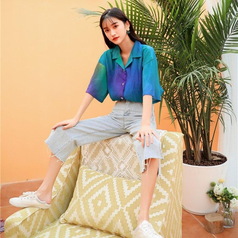 Été élégant dégradé paon couleur Blouse femmes 2019 mode plissée à manches courtes chemise coréenne Streetwear