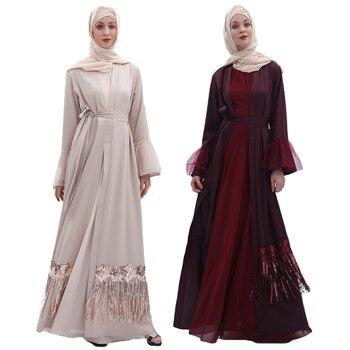 Muslim Sequins Abaya Dubai Open Kaftan Women Tassel Open Front Cardigan Kimono Dress Arab Jilbab Party Cocktail Robe Oman Dress