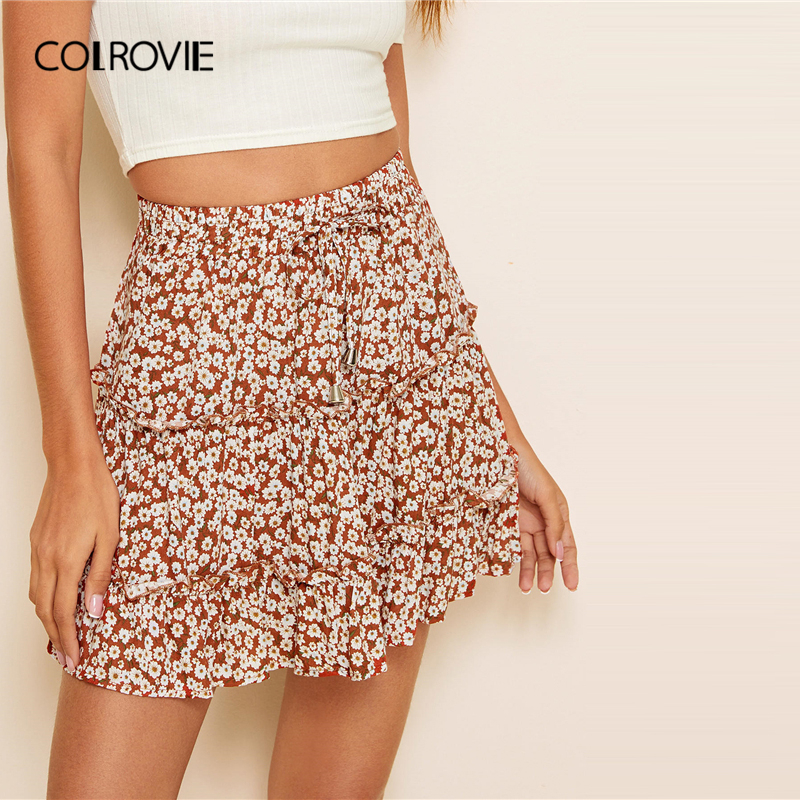 COLROVIE Ditsy Floral Knot Ruffle Hem Skirt Women A Line Boho Mini Skirt 2020 Summer Holiday Ladies High Waist Casual Skirts