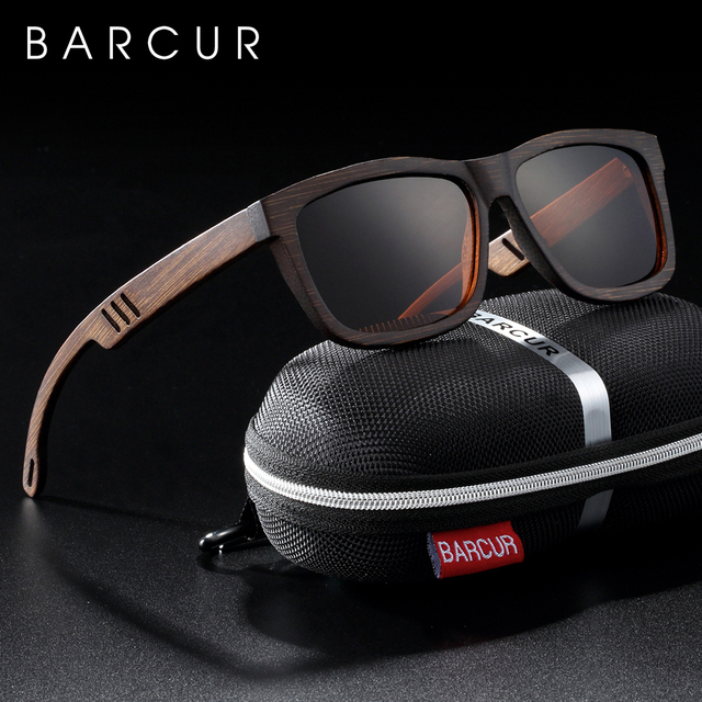 Barcur 正方形サングラス竹女性ブラウンウッドサングラス男性偏ヴィンテージ oculos デゾルリュネット · ド · ソレイユ