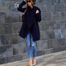 Elegant Autumn Winter Women #8217 s Coats Turn-down Collar Long Sleeve Oversize Outwear Jacket Mid Length Pockets Solid Color Overcoat cheap AYEUNGA Polyester Open Stitch WTY046#N6190729 REGULAR Casual Wool Blends Full S M L XL XXL