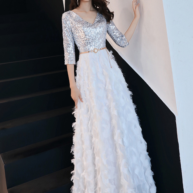 2019 Vestidos Celebrities Elegant Quality Evening Dress New Noble Banquet Long Slim Sequin Show Thin Annual Meeting Host Lady