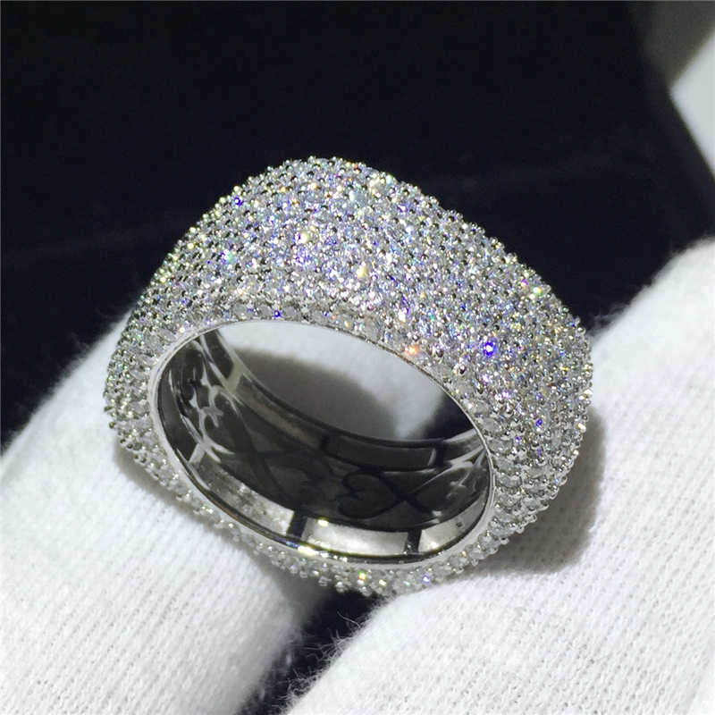 Stunning Luxury เครื่องประดับ Original 925 Sterling Silver White CLEAR AAAA Cubic Zirconia สัญญาแหวนแต่งงานแหวนของขวัญ