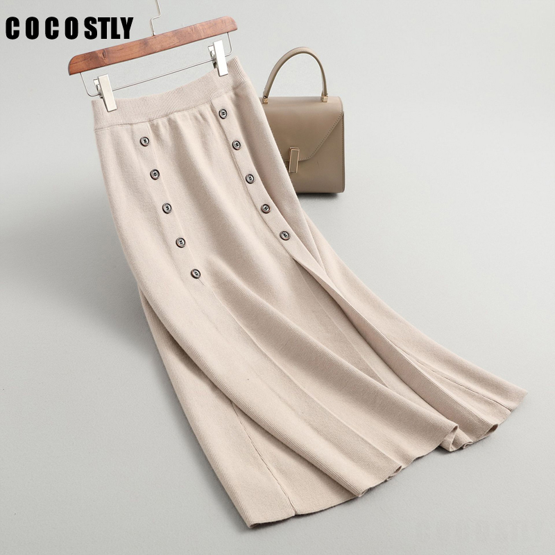 Skirts Womens 2019 Autumn Winter High Waist Straight Skirt Elegant Bodycon Skirts Double Buttons Black Knitted Midi Long Skirt