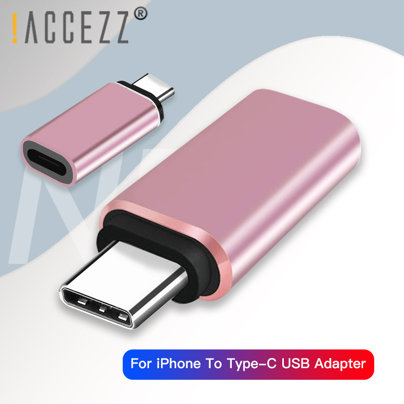 !ACCEZZ USB C OTG Adapter Type-C Male To For IPhone Cable Female Charging Data For Huawei P20 P30 Samsung S9 S10 Mi 9 Converter