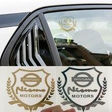 1 pçs ouro tira cor etiqueta da janela do carro com emblema emblema para nissans nismo x-trail almera qashqai tiida teana