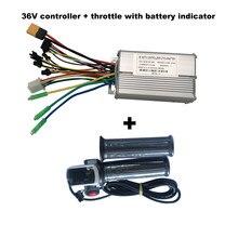Controlador sem escova do modo da engrenagem da bicicleta 36v 250w/350w/500w ebike e acelerador da torção com nível da bateria