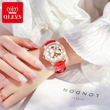 OLEVS Top Brand Mechanical Women Watch Fashion Switzerland Luxury Brand Ladies Wrist Watch Automatic Leather Strap Gift 2
