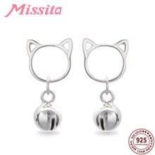 MISSITA 100% 925 Sterling Silver Cute Bell Cat Earrings For Women Jewelry Brand Girlfriend Party Gift Hot Sale