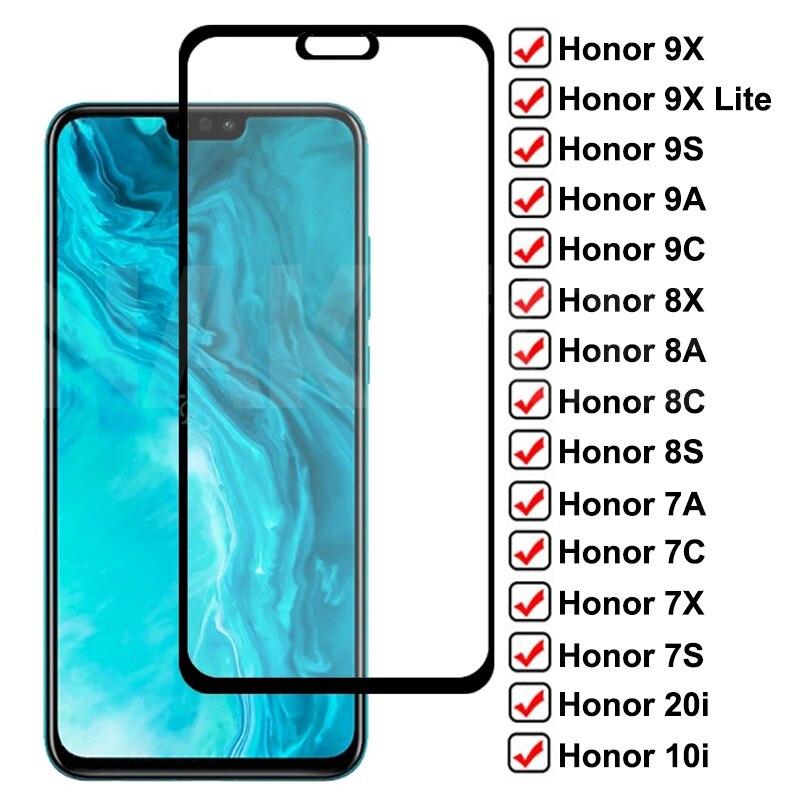 Защитное стекло 9D для Huawei Honor 9X 8 Lite 9A 9C 9S 8X 8A 8C 8S, закаленное стекло для Honor 7A, 7C, 7X, 7S, 9i, 10i, 20i, стеклянная пленка, чехол