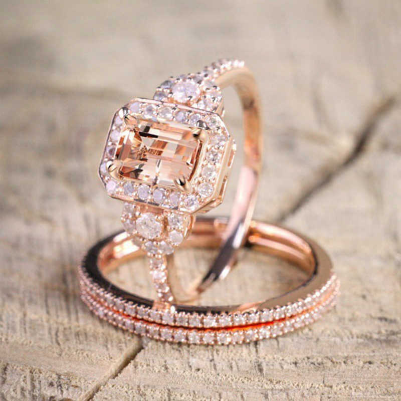 YOBEST Wedding Ring Set Voor Vrouwen Luxe Zirconia Bijoux Sieraden Rose Gold Filled Crystal Zircon Rings Engagement Ring