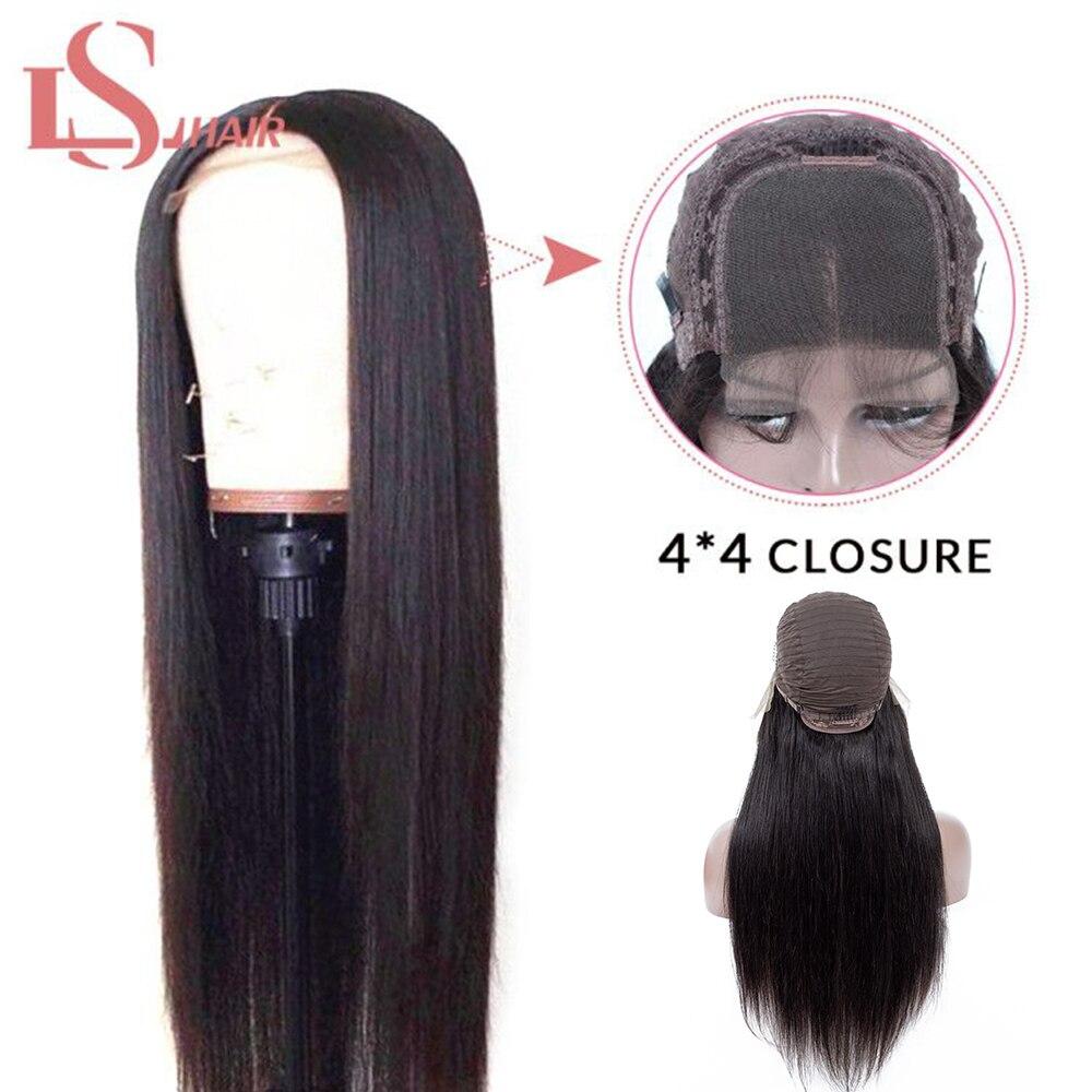 LS Hair 4X4 Closure Wig Brazilian Lace Closure Human Hair Wigs With Baby Hair Straight Hair Wig For Black Women Remy Hai