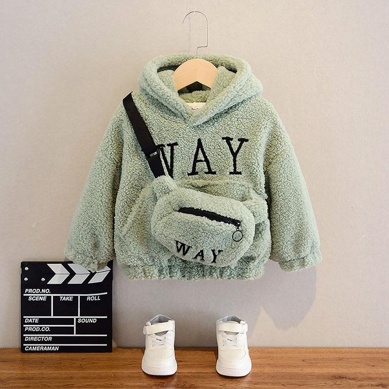 VFOCHI Boy Girl Sweatshirts with Bag Winter Wool Thick Children Hooded Long Sleeves Sweatshirt Unisex Warm Boy Girls Sweatshirts 3