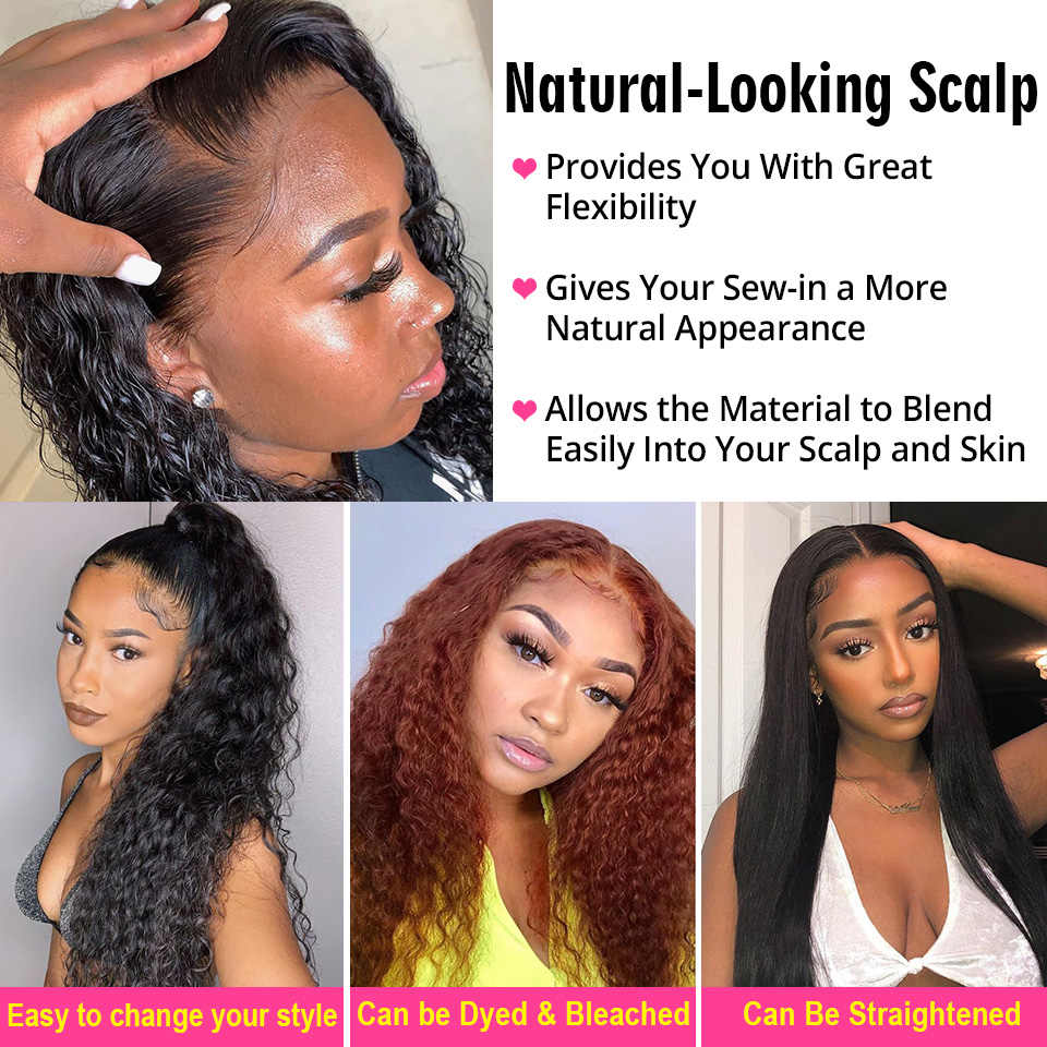 Alipearl Braziliaanse Diepe Golf 4 Bundels Met Frontale Sluiting Menselijk Haar Bundels Met Sluiting Remy Hair Extensions Natuurlijke Kleur