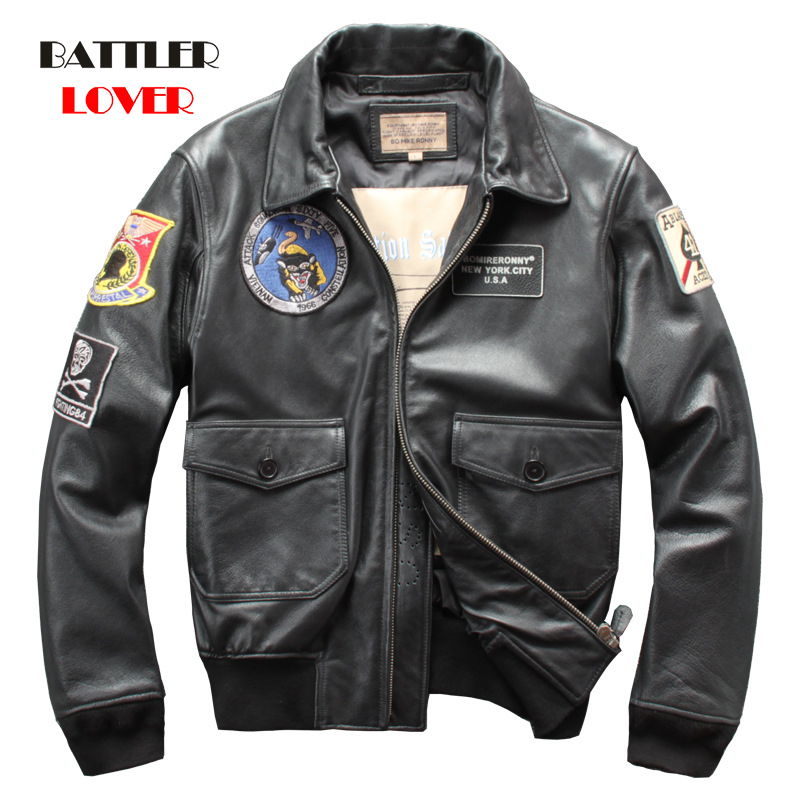 2020 Genuine Cow Leather Jacket Men Top Gun Air Force A2 Pilot Jacket Winter Thick Warm Cowhide Military Coat Russia Winter Coat