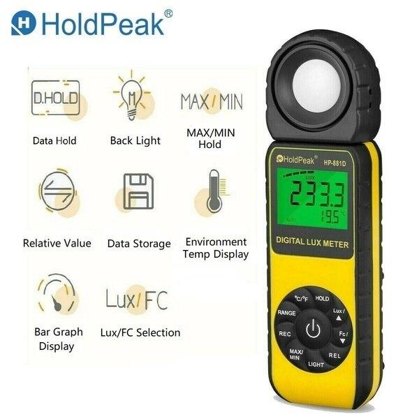 Mètre de lumière déclairement de Digital de HP-881D, 0.01 ~ 400,000 luxmètre de bougies de pied de Lux avec 270 ° a tourné lappareil de contrôle de lumière de capteur