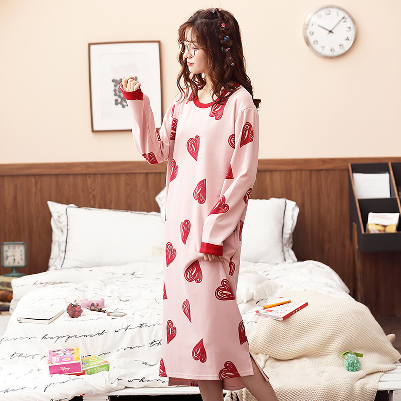Korean-style Pajamas Women's Spring And Autumn Long Sleeve Pure Cotton Cute Students Long Heart Nightgown Summer-Outer Wear Trac
