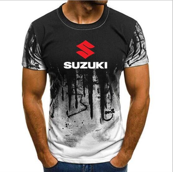 Free Shipping Summer Suzuki MenShort Sleeve T Shirts Male Suzuki Gsx Print T-shirts Tops Splash-ink Printed Male Casual Tshirt