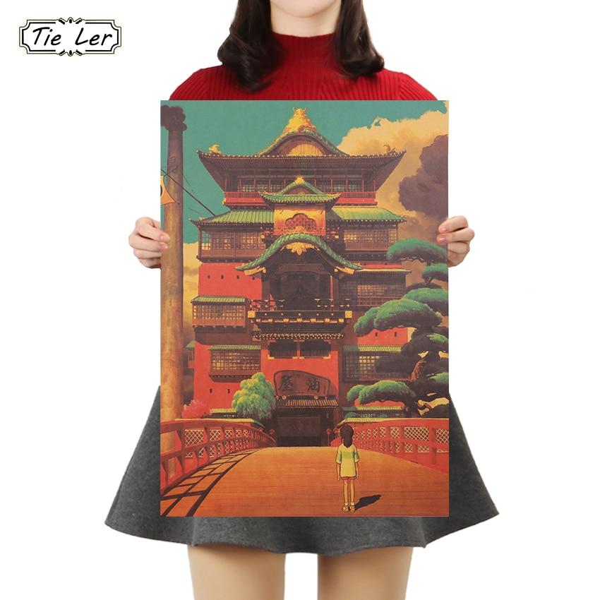 TIE LER Classic Nostalgia Kraft Paper Poster Cafe Bar Poster Retro Wall Sticker Decorative Painting 50.5X35cm