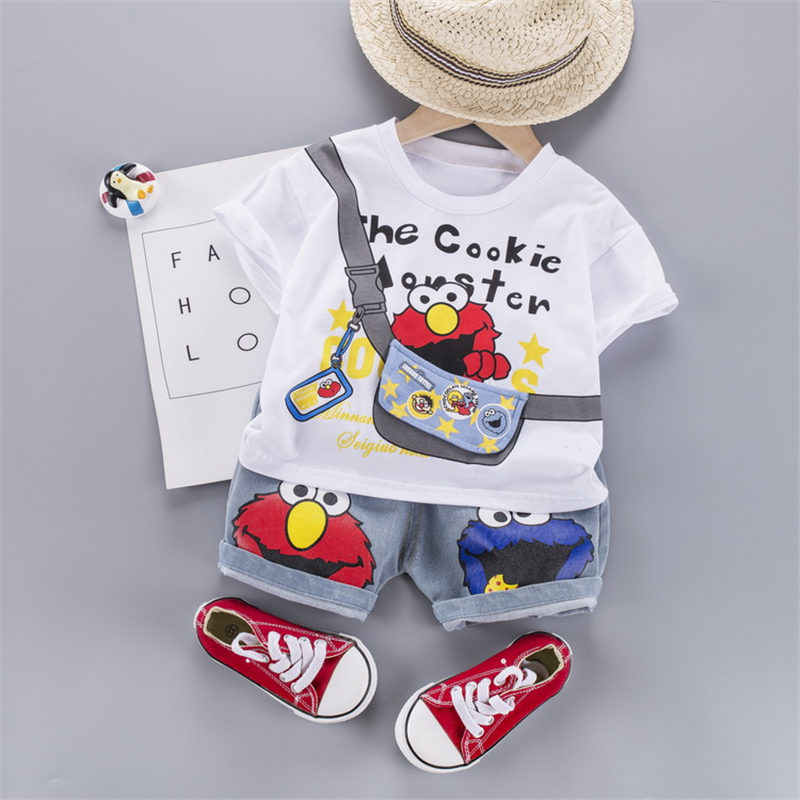 Ropa de verano para niños, camiseta con dibujos animados de niño o bebé, pantalones cortos de tela vaquera de cuello redondo, 2 unidades/conjunto de traje infantil, chándal de moda para niños pequeños
