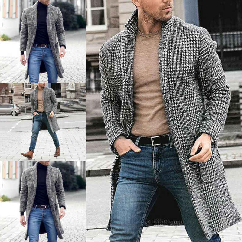 Mode mannen Britse Casual Wol Geul Winter Warme Jas Zwart Wit Plaid Windjack Office Straat Uitloper Lange Overjas