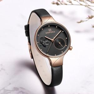 Image 5 - NAVIFORCE Women Watches Top Brand Luxury Fashion Female Quartz Wrist Watch Ladies Leather Waterproof Clock Girl Relogio Feminino