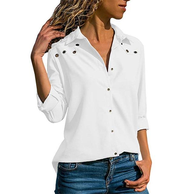 Shirt Collar Shift Long Sleeve Shirts & Tops - Costafly